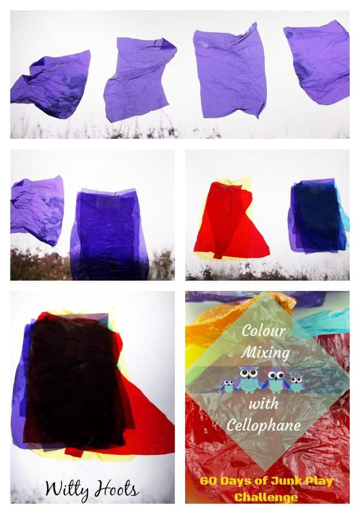 Cellophane colour mixing collage