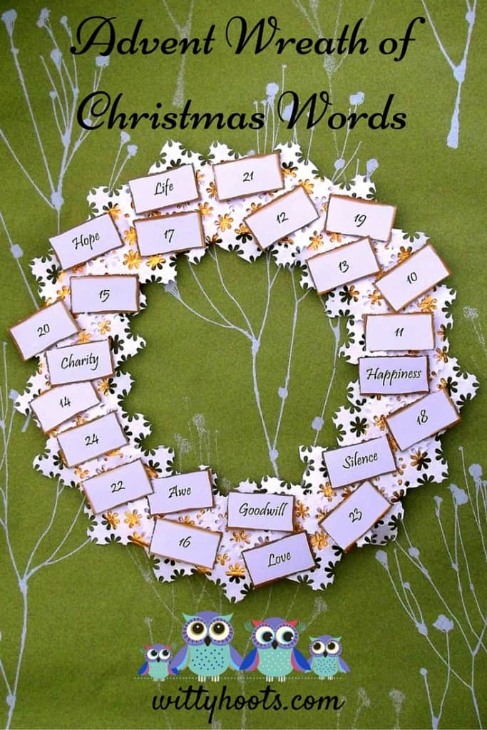 Advent Words Wreath WItty Hoots